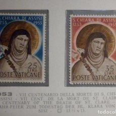 Sellos: POSTE VATICANE IVERT & TELLIER Nº 187-188 - AÑO 1953 - SANTA CLARA DE ASIS - NUEVO - SERIE COMPLETA. Lote 194233946