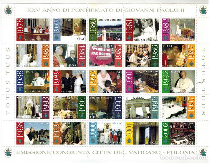ESPECTACULAR HOJA BLOQUE 25 SELLOS JUAN PABLO II EMISION CONJUNTA VATICANO-POLONIA 2002 (Sellos - Extranjero - Europa - Vaticano)