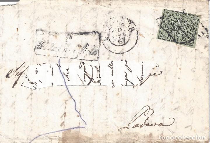 VATICANO. ESTADO DE LA IGLESIA. CARTA CON SELLO DE 2B. AÑO 1857. LUJO.. (Sellos - Extranjero - Europa - Vaticano)