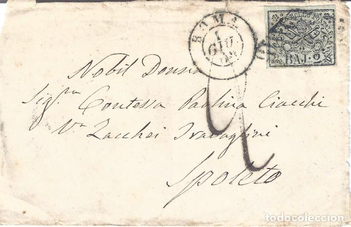 VATICANO. ESTADO DE LA IGLESIA. FRONTAL CON SELLO DE 2B. 1869. LUJO.. (Sellos - Extranjero - Europa - Vaticano)