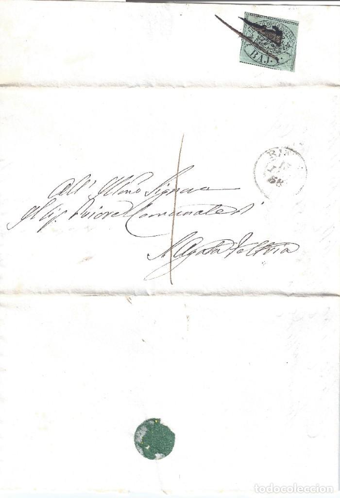 VATICANO. ESTADO DE LA IGLESIA. FRONTAL CON SELLO DE 1B. 1858. LUJO.. (Sellos - Extranjero - Europa - Vaticano)