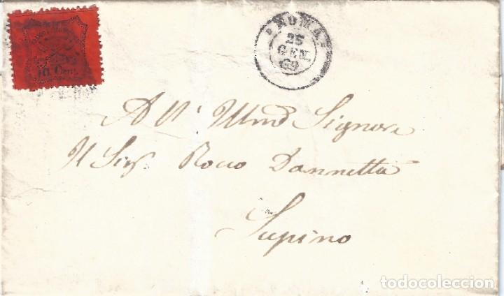VATICANO. ESTADO DE LA IGLESIA. FRONTAL CON SELLO DE 10 CEN. 1869. LUJO.. (Sellos - Extranjero - Europa - Vaticano)