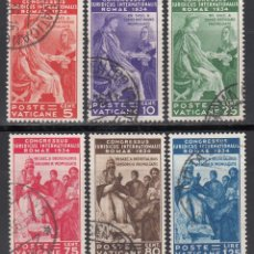 Sellos: VATICANO, 1935 YVERT Nº 66 / 71, CONGRESO JURÍDICO INTERNACIONAL, ROMA. Lote 196230220