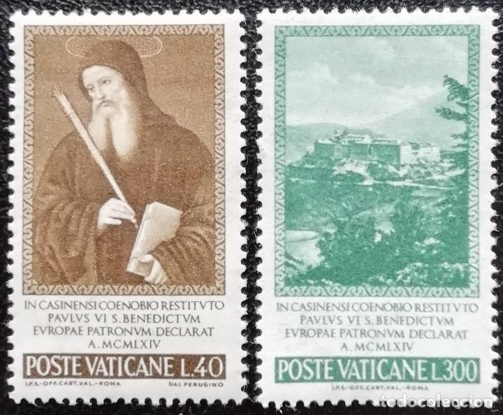 1965. VATICANO. 432 / 433. SAN BENITO, PATRÓN DE EUROPA. ABADÍA MONTE CASSINO. SERIE COMPLETA. NUEVO (Sellos - Extranjero - Europa - Vaticano)