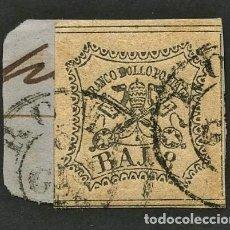 Sellos: VATICANO, ESTADO PONTIFICIO, SELLO, ESCUDO NACIONAL, 1852, CERT. ROIG, STAMP ITALY. Lote 222606572