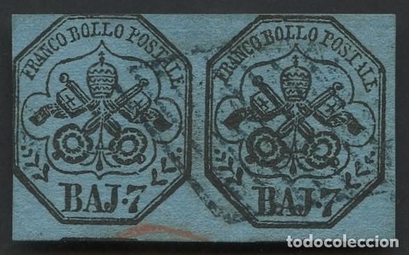 VATICANO, ESTADO PONTIFICIO, SELLO, ESCUDO NACIONAL, 1852, (2), CERT. ROIG, STAMP ITALY (Sellos - Extranjero - Europa - Vaticano)