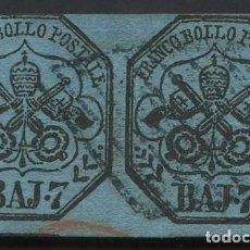 Sellos: VATICANO, ESTADO PONTIFICIO, SELLO, ESCUDO NACIONAL, 1852, (2), CERT. ROIG, STAMP ITALY. Lote 222610953
