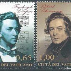 Timbres: VATICANO 2010 - ROBERT SCHUMANN Y FRYDERICK CHOPIN - MUSICA - SERIE DE 2 SELLOS. Lote 223614628