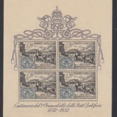 Sellos: VATICANO, 1952 YVERT Nº 1 /**/, CENTENARIO DEL SELLO,. Lote 232323770