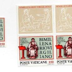 Sellos: VATICANO - BIMILENARIO DE LA MUERTE DEL POETA VIRGILIO - AÑO 1981 - 3 SELLOS + 2 VIÑETAS NUEVAS 3. Lote 235580825