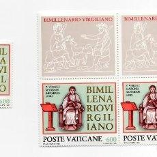 Sellos: VATICANO - BIMILENARIO DE LA MUERTE DEL POETA VIRGILIO - AÑO 1981 - 3 SELLOS + 2 VIÑETAS NUEVAS 3. Lote 235580935