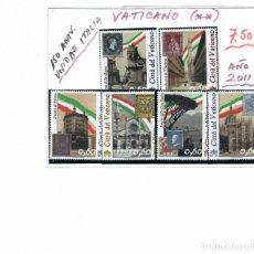 Sellos: SERIE 6 VALORES DEL VATICANO ANIVERSARIO DE LA UNIDAD DE ITALIA AÑO 2011. Lote 261909720