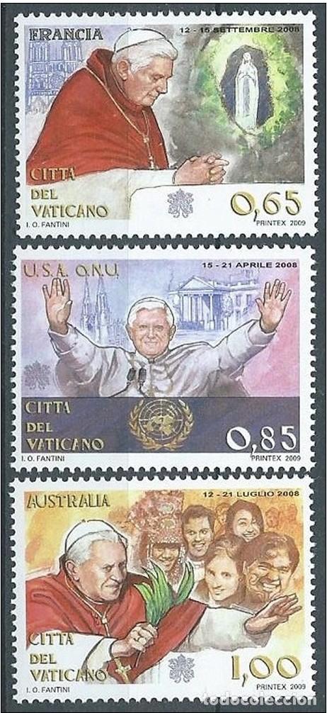 VATICANO 2009 - VIAJES DEL PAPA - SERIE DE 3 SELLOS (Sellos - Extranjero - Europa - Vaticano)
