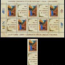 Sellos: VATICANO 2009 - DIA DE LA LENGUA ITALIANA - EMISION CONJUNTA CON SAN MARINO. Lote 270365018
