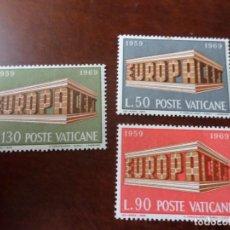 Sellos: VATICANO, 1969, EUROPA, YVERT 488/90. Lote 289490518