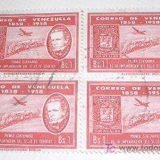 Sellos: CORREO DE VENEZUELA 1858-1958 - PRIMER CENTENARIO DE LA IMPLANTACIÓN DEL SELLO DE CORREOS. Lote 24816281