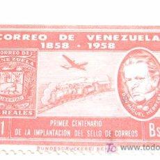 Sellos: CORREO DE VENEZUELA 1858-1958 - PRIMER CENTENARIO DE LA IMPLANTACIÓN DEL SELLO DE CORREOS. Lote 26856860