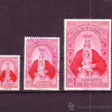 Sellos: VENEZUELA 420/22 - AÑO 1952 - TRICENTENARIO DE LA APARICION DE LA VIRGEN DE COROMORO. Lote 21508584