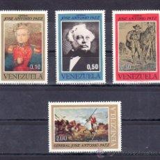 Sellos: VENEZUELA 877/880 SIN CHARNELA, CENTENARIO MUERTE DEL GENERAL JOSE ANTONIO PAEZ . Lote 24281564