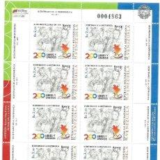 Sellos: HOJA 10 SELLOS 200 AÑOS INDEPENDENCIA VENEZUELA AÑO 2011. Lote 32165605