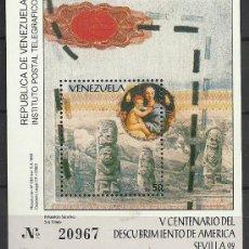 Sellos: HOJA BLOQUE BLOCK VENEZUELA V CENTENARIO DEL DESCUBRIMIENTO DE AMÉRICA SEVILLA 92 AÑO 1992 NUEVO. Lote 216642821
