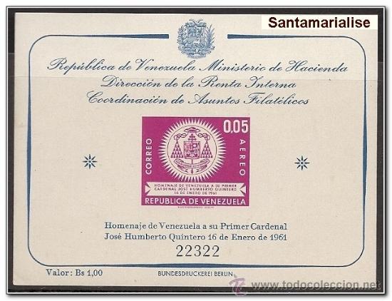 HOJA BLOQUE BLOCK VENEZUELA PRIMER CARDENAL DE VENEZUELA JOSE HUMBERTO QUINTERO AÑO 1961 NUEVA (Sellos - Extranjero - América - Venezuela)
