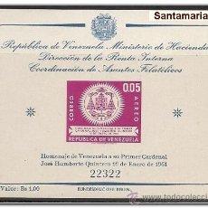 Sellos: HOJA BLOQUE BLOCK VENEZUELA PRIMER CARDENAL DE VENEZUELA JOSE HUMBERTO QUINTERO AÑO 1961 NUEVA. Lote 32390820
