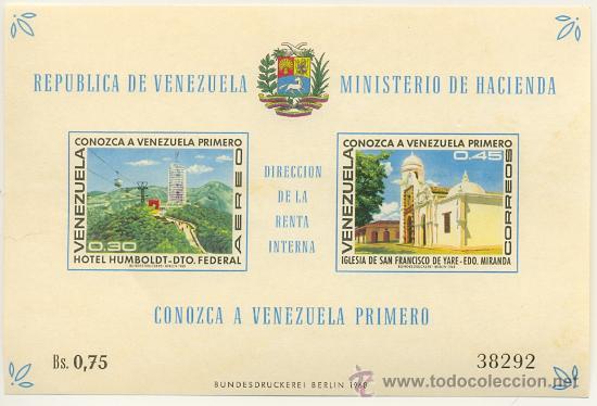 HOJA BLOQUE BLOCK MONUMENTOS TURÍSTICOS PARA FOMENTAR EL TURISMO EN VENEZUELA AÑO 1968 EN NUEVO (Sellos - Extranjero - América - Venezuela)