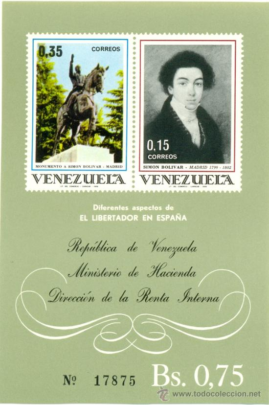 HOJA BLOQUE BLOCK CONMEMORATIVA VENEZUELA LIBERTADOR SIMÓN BOLÍVAR EN ESPAÑA AÑO 1969 NUEVA (Sellos - Extranjero - América - Venezuela)