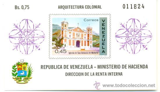 HOJA BLOQUE BLOCK MONUMENTOS TURÍSTICOS ARQUITECTURA COLONIAL IGLESIA EN VENEZUELA AÑO 1970 EN NUEVO (Sellos - Extranjero - América - Venezuela)