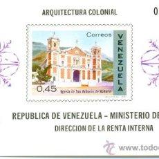 Sellos: HOJA BLOQUE BLOCK MONUMENTOS TURÍSTICOS ARQUITECTURA COLONIAL IGLESIA EN VENEZUELA AÑO 1970 EN NUEVO. Lote 32391408