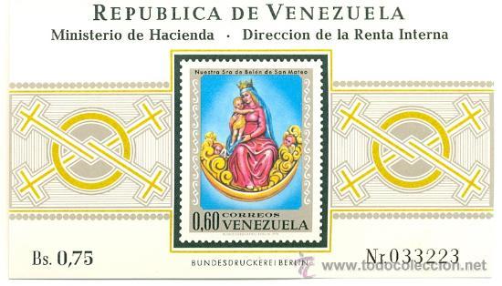 HOJA BLOQUE BLOCK VENEZUELA IMAGÉN RELIGIOSA DE LA VIRGEN DE BELÉN DE SAN MATEO AÑO 1970 NUEVA (Sellos - Extranjero - América - Venezuela)
