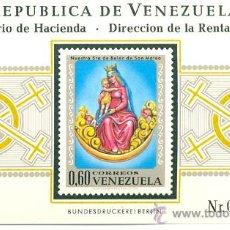 Sellos: HOJA BLOQUE BLOCK VENEZUELA IMAGÉN RELIGIOSA DE LA VIRGEN DE BELÉN DE SAN MATEO AÑO 1970 NUEVA. Lote 32391513