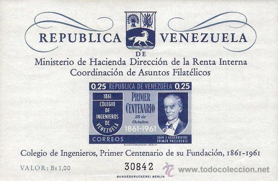HOJA BLOQUE BLOCK PRIMER CENTENARIO DEL COLEGIO DE INGENIEROS DE VENEZUELA AÑO 1961 NUEVA (Sellos - Extranjero - América - Venezuela)