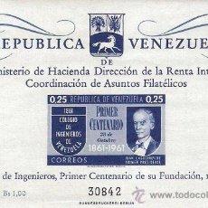 Sellos: HOJA BLOQUE BLOCK PRIMER CENTENARIO DEL COLEGIO DE INGENIEROS DE VENEZUELA AÑO 1961 NUEVA. Lote 32392033