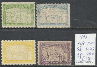 1619-SELLOS CLASICOS VENEZUELA AÑO 1896 VALOR 57,50€ Bº54,55,56 Y 58.CLASSIC.MAPA. VENEZUELA 1619-18 (Sellos - Extranjero - América - Venezuela)
