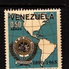 Sellos: VENEZUELA AEREO 870* - AÑO 1965 - 75º ANIVERSARIO DE LA ORGANIZACION DE ESTADOS AMERICANOS - MAPAS . Lote 39683019