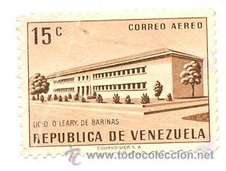 2-VENE592AE. SELLO USADO VENEZUELA. YVERT Nº 592 AÉREO. LICEO O. LEARY DE BARINAS (Sellos - Extranjero - América - Venezuela)