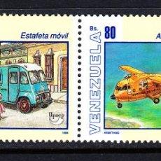 Sellos: VENEZUELA 1719/20** - AÑO 1995 - AMERICA - UPAEP - TRANSPORTE POSTAL - AUTOMOVILES - AVIONES . Lote 49015200