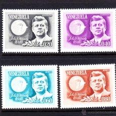 Sellos: VENEZUELA 726/27 Y AEREO 860/61** - AÑO 1965 - 2º ANIV. DE LA MUERTE DEL PRESIDENTE JOHN F. KENNEDY. Lote 49611608