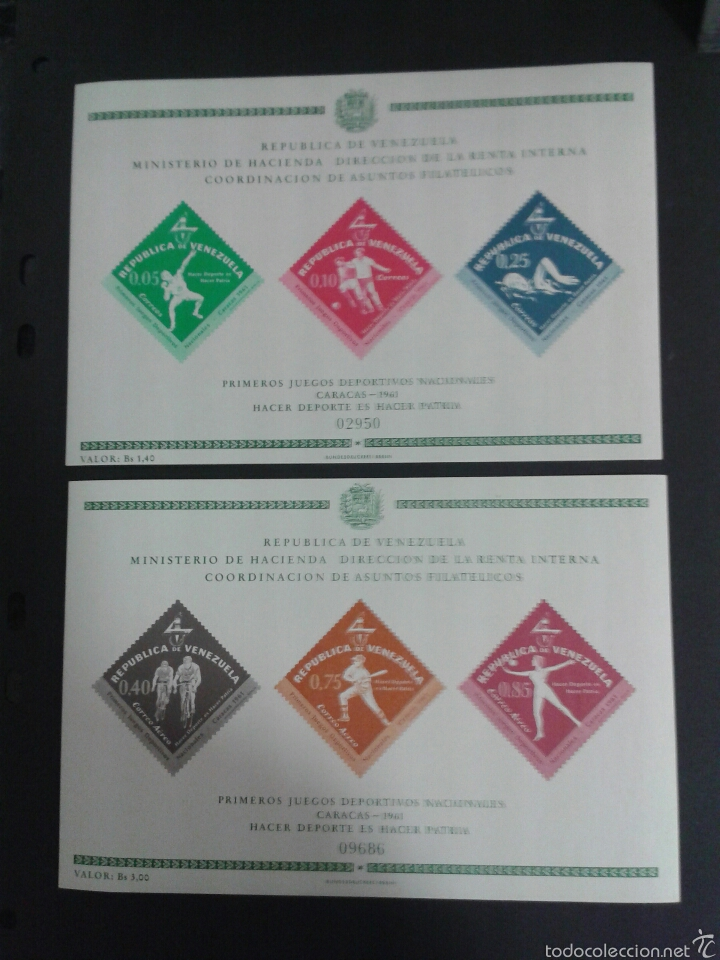 SELLOS DE VENEZUELA. DEPORTES. YVERT HB 8/9. SERIE COMPLETA NUEVA SIN CHARNELA. (Sellos - Extranjero - América - Venezuela)