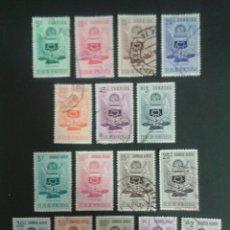 Sellos: SELLOS DE VENEZUELA. ESCUDOS. YVERT 501/7 + A-537/45. SERIE COMPLETA USADA.. Lote 53641399