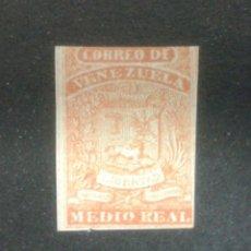 Sellos: SELLO DE VENEZUELA. YVERT 1. NARANJA. SELLO SIN GOMA CON MÁRGENES JUSTOS.. Lote 54380446