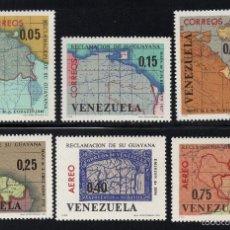 Sellos: VENEZUELA 728/30 Y AEREO 863/65** - AÑO 1965 - MAPAS - REINVINDICACIÓN DE LA GUYANA. Lote 55699033