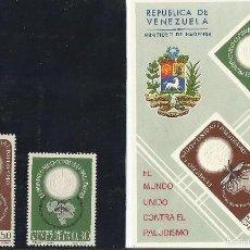 Sellos: VENEZUELA 1962 HOJA BLOQUE LUCHA CONTRA EL PALUDISMO. Lote 56565276
