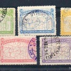 Sellos: VENEZUELA=YVERT Nº 54/58=GENERAL MIRANDA=AÑO 1896=CATALOGO:95 EUROS=REF:1674. Lote 58115089