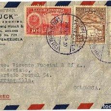 Sellos: VENEZUELA 1939. HISTORIA POSTAL. CARTA COMERCIAL VOLADA DIRIGIDA DESDE CARACAS A BARRANQUILLA.. Lote 104796419
