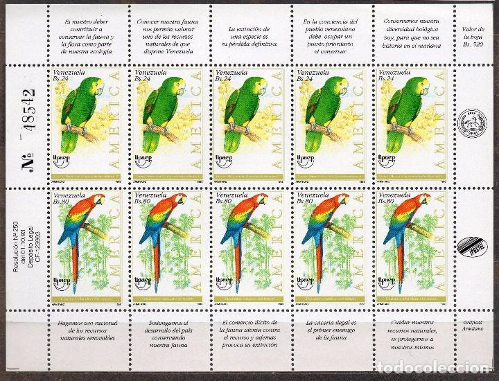VENEZUELA / 1993 / MNH / SC#1504 / UPAEP / AVES / LORO / GUACAMAYA (Sellos - Extranjero - América - Venezuela)