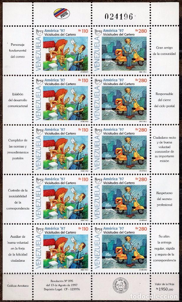 VENEZUELA / 1997 / MNH / SC#1573-1574 / UPAEP / CARTERO (Sellos - Extranjero - América - Venezuela)