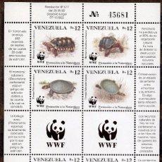 Sellos: VENEZUELA / 1992 / MNH / SC#1471 / PROTECCIÓN DE LA NATURALEZA / WWF ANIMALES, TORTUGA. Lote 90808860